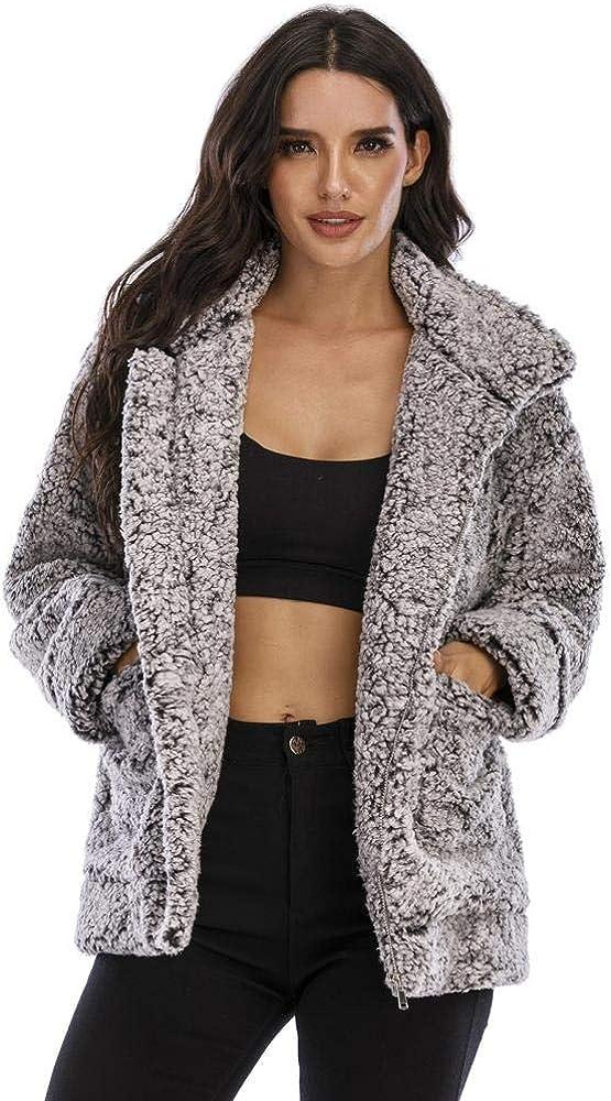Women Sherpa Coat Casual Lapel Fleece Fuzzy Faux Shearling Zipper Warm Oversized Outwear