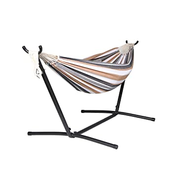 Medium image of unionline 9 u0027 denim double hammock with space saving steel stand