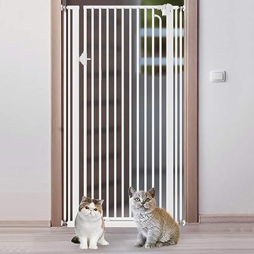 H.yina Puertas metálicas para Perros para Mascotas Extra Altas con Puerta de Paso, Puertas para bebé Extra Anchas de Montaje a presión para escaleras, 74-164 cm de Ancho, Blanco (Tamaño: 154-159 cm):
