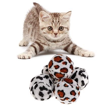 Juguete para gatos de YFairy, 5 unidades, juguete para mascotas, peluche, leopardo