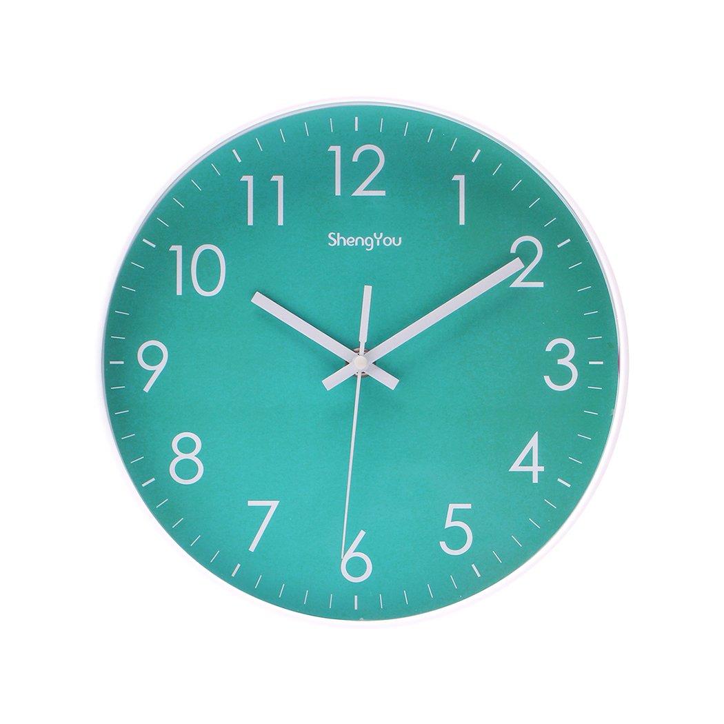 SonYo Indoor Non-Ticking Silent Quartz Modern Simple Wall Clock Digital Quiet Sweep Movement Office Decor 10 Inch(Bluegreen)
