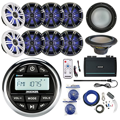 "Kicker KMC2 Marine Gauge Style AM/FM Stereo Receiver Bundle Combo With 8x 8"" LED Boat Speakers W/ Remote + 10"" 300W Subwoofer + 5 Channel Amplifier W/ Wiring Kit + Enrock Antenna + 100-Ft 14g Wire"