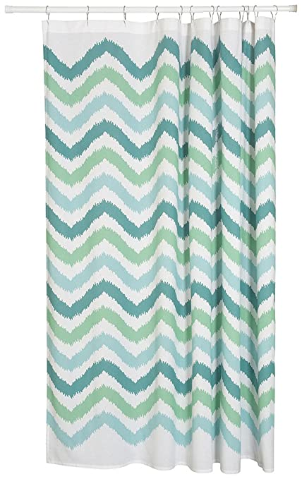 Now Designs Cotton Shower Curtain Chevron Print Green