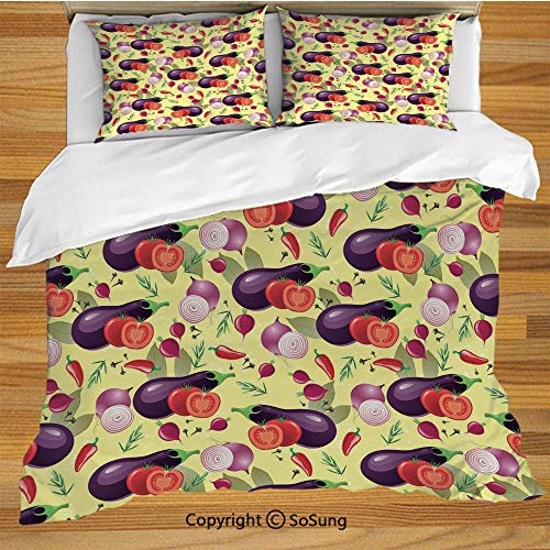 Organic Flannelette - Eggplant Queen Size Bedding Duvet Cover Set,Eggplant Tomato Relish Onion Going Green Eating Organic Tasty Preserve Nature Decorative Decorative 3 Piece Bedding Set with 2 Pillow Shams,Multicolor