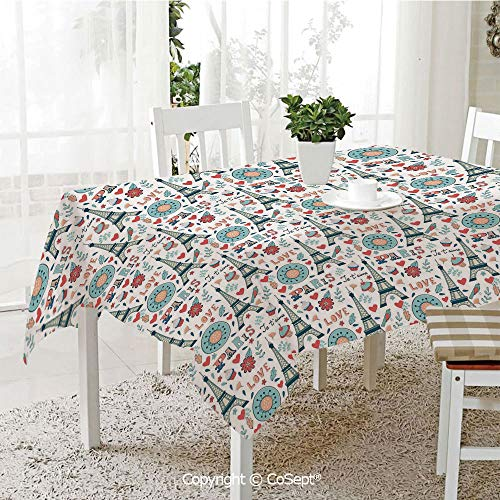 Wrinkle Free and Stain Resistant Tablecloth,Retro Colored Cheerful Composition with Floral Figures Cupcakes and Je`Taime Print Decorative,Spill Proof,Machine Washable,Tablecloth for Use(60.23