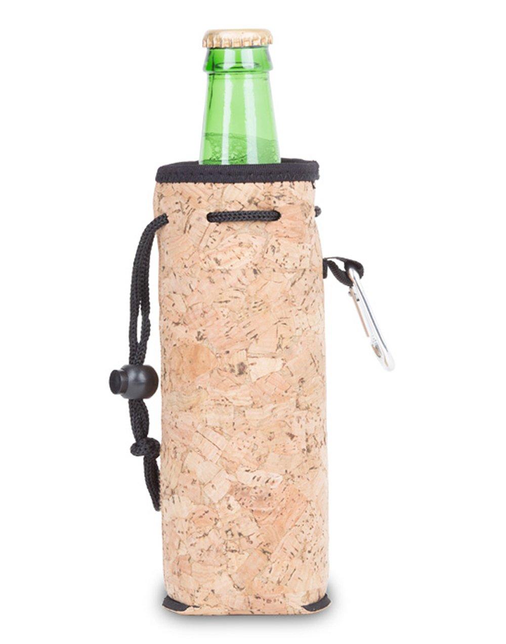 Zees Inc The Cool Sack-Neoprene Np813 Cork Wood Water Bottle Cooler, Multicolor