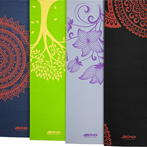 Bionix Grey Premium Printed Yoga Mats 6mm Thick, Large Non Slip and Carry...