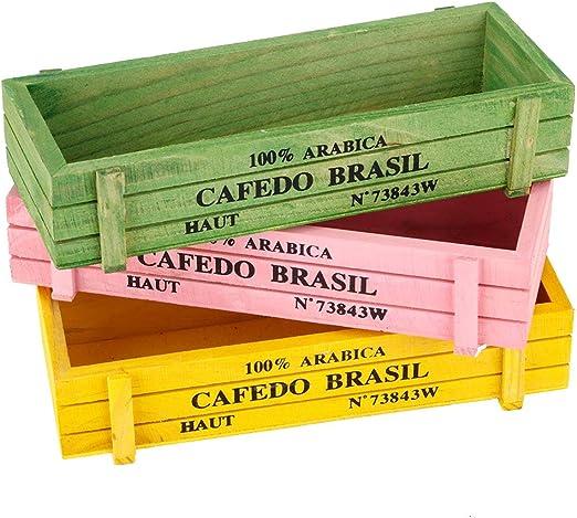 Caja Almacenamiento Madera Suculenta Caja Almacenamiento Macetas Plantas Jardín Flores Decoración Escritorio Oficina en el Hogar 3 piezas: Amazon.es: Jardín