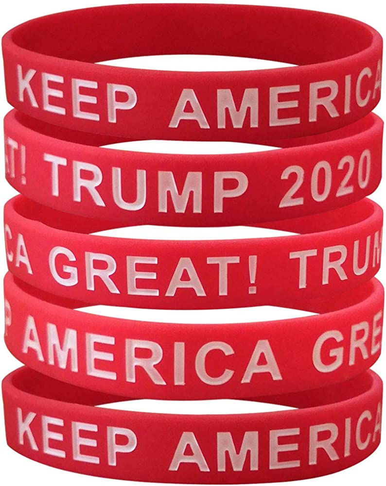 1 President Trump I LOVE TRUMP Heart Pink Silicone Bracelets Wristband