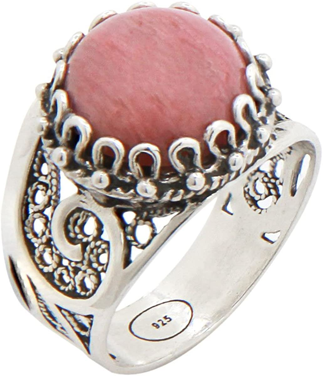 925 Sterling Silver Pink Rhodonite Round Filigree Paisley Ring (Size 5-12)