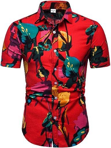 ESAILQ Camisa Hawaiana | Señores| Manga Corta | Bolsillo Delantero | impresión De Hawaii | Playa: Amazon.es: Ropa y accesorios