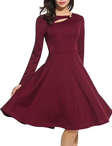 ANGVNS Women Vintage Long Sleeve Fit and Flare Party Cocktail Swing Dress