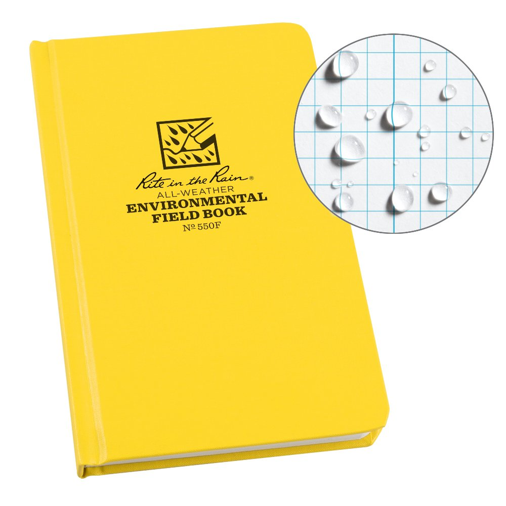 Rite in the Rain Weatherproof Hard Cover Notebook, 4 3/4'' x 7 1/2'', Yellow Cover, Environmental Pattern (No. 550F)