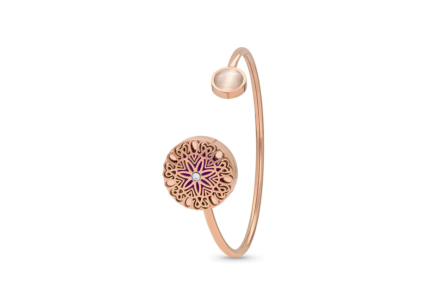 FlowerBurst and Cat Eye Diffuser Bracelet, 9 Diffuser Pads, 20mm Locket Size, Twisting Cuff Allows Easy (Rose Gold and Cat Eye)