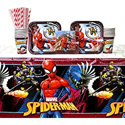 Spiderman Party Supplies Pack for 16 Guests: Straws, Dessert Plates, Beverage Napkins, Cups, and Table Cover (Bundle for 16)