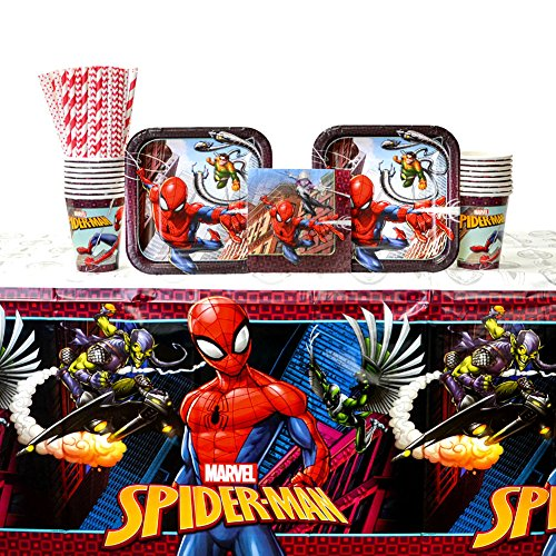 - Spiderman Party Supplies Pack for 16 Guests | Includes Straws, Dessert Plates, Beverage Napkins, Cups, and Table Cover | Spiderman Birthday Party Supplies | Celebrate Your Day With The Webbed Wonder!
