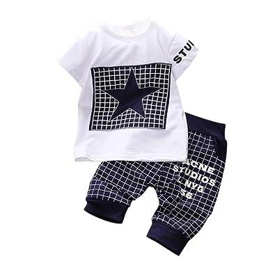 18b0b573d9eec BOBORA Ensemble Bébé Garçon Étoiles Estampes T-Shirt + Pantalons 0-3Ans