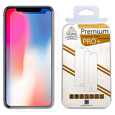 sports shoes 67dfd b5f20 Gorilla Tech Twin Pack Premium Tempered Glass Screen Protector for Apple  iPhone X and iPhone XS (iPhone 10 iPhone 10S) Invisible Shield Cover 9H ...