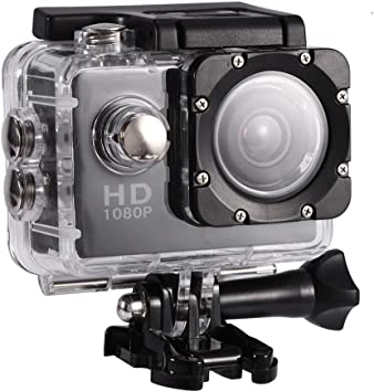 Lazmin 1080P Cámara Deportiva a Prueba de Agua, Mini DV Cámara de acción Videocámara USB 2 Pulgadas 12MP Cámara subacuática(Negro): Amazon.es: Electrónica