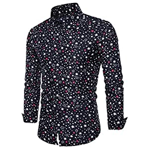 Hombres de Broken estrellas camiseta hombres de negocios Casual Slim Manga Larga Top Blusa por victorcn