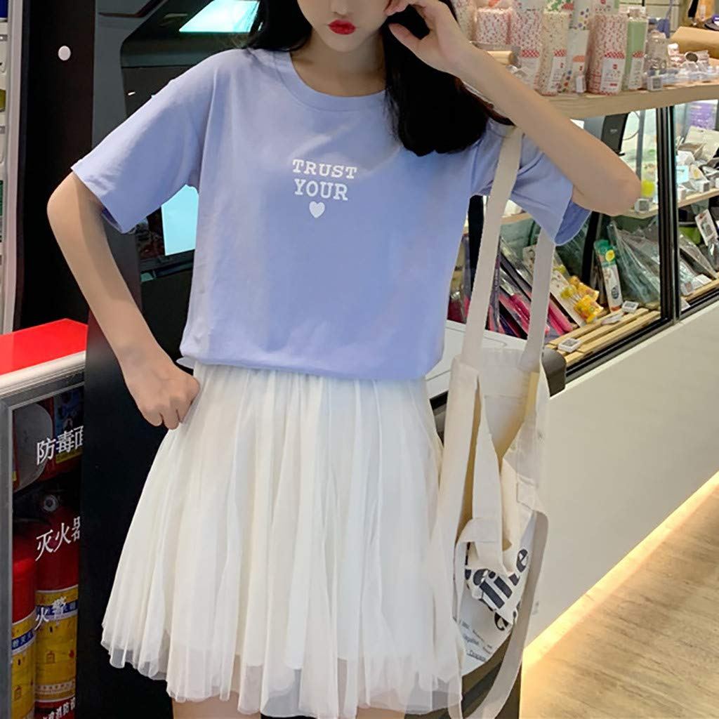 Printed Pattern Summer Tee Fashion Chic Short Sleeves Tops High Round Neck Tee-Shirt Woman T-Shirt Casual Blouse Short Sleeve Lomsarsh T-Shirts Woman Printed Letters