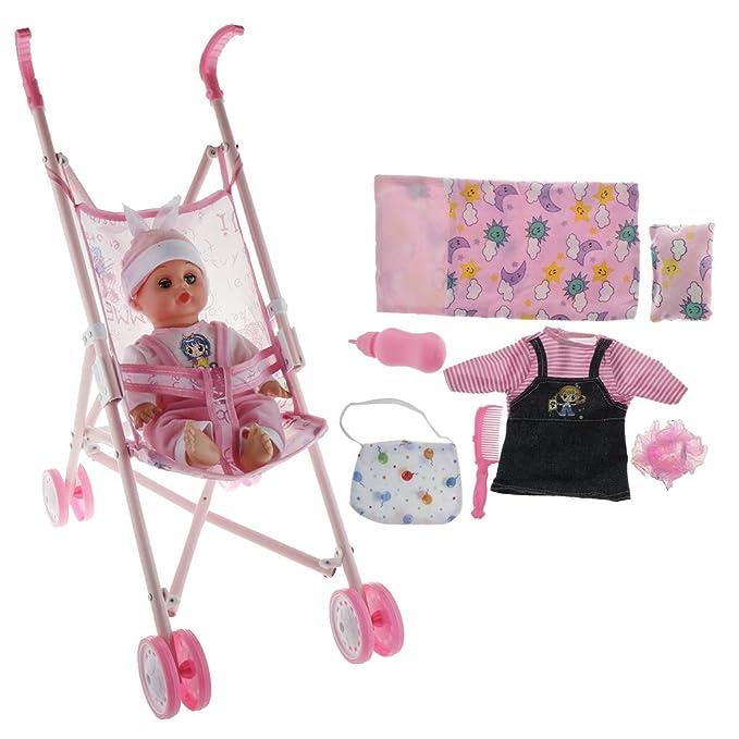 Amazon.es: P Prettyia Fashion Carrito Mini + Muñecas Bebés Renacidas + Juegos de Ropa de Vestir de Moda - C: Juguetes y juegos