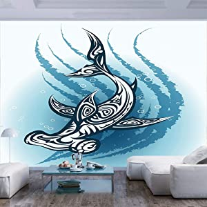 BBING COLOR 77x30 inches Wall Mural,Hammerhead Fish with Ornamental Ethnic Effects Swimming Ocean Image Peel and Stick Self-Adhesive Wallpaper Removable Large Wall Sticker Wall Decor for Home Office
