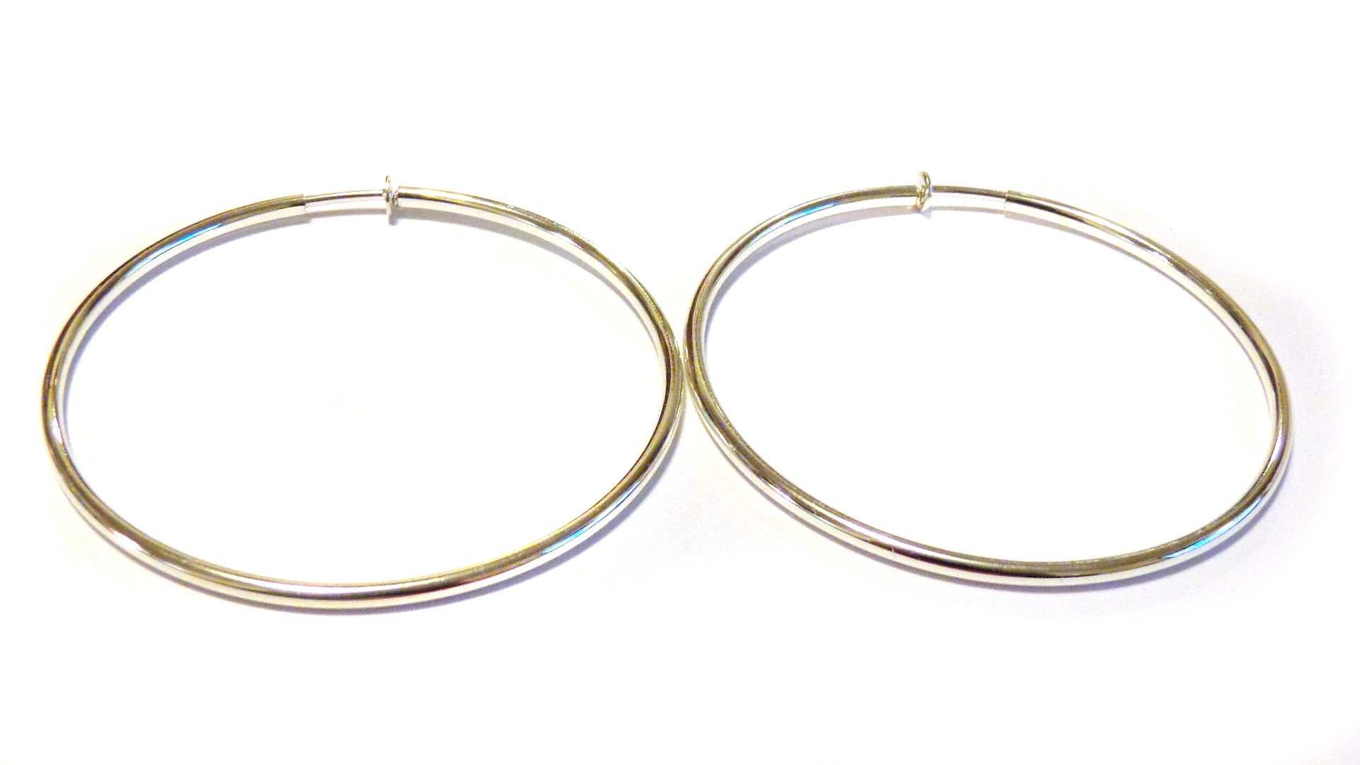 Clip-on Earrings Clip Hoop Earrings Gold or Silver Plated Hypoallergenic Hoop Clip Earrings 3 INCH (silver)