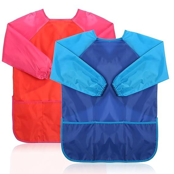 ecbrt delantal de Pintura - Juego de 2 impermeable bata de pintura para niños mango larga con 3 grandes bolsillos (azul y rojo): Amazon.es: Hogar
