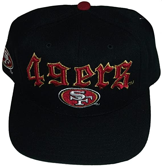 9e2c8833516 Image Unavailable. Image not available for. Color  San Francisco 49ers Black  Old English Plastic Snapback Adjustable Snap Back Hat ...