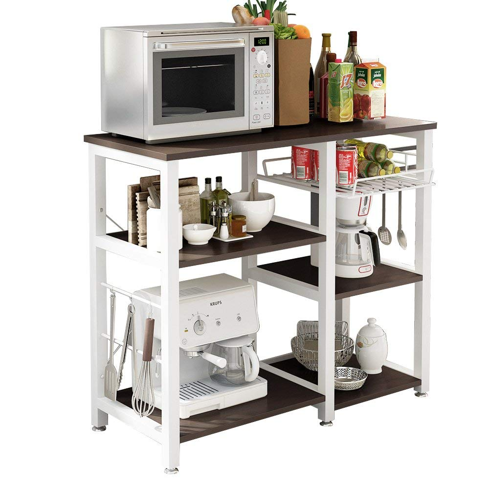 sogesfurniture 3-Tier Kitchen Baker's Rack Utility Shelf Microwave Stand with Storage and Drawer Storage Cart Workstation Shelf,Black BHUS-W5S-BK