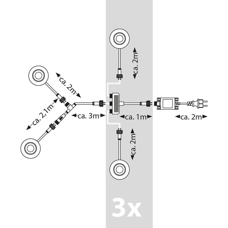 parlat LED Foco de jard/ín Spico con Pica de Tierra para el Exterior IP44 68lm Blanca fr/ía Juego de 6