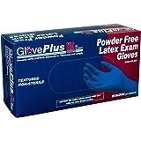 AMMEX - GPLHD84100-BX - Heavy Duty Latex Gloves - Disposable, Powder Free, Indrustrial, 12 mil, Medium, Blue (Box of 50)
