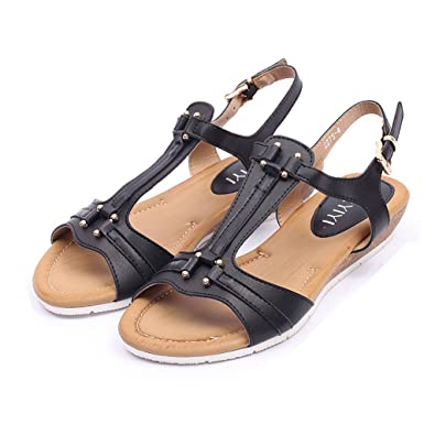 fc3604b5cd26 Women s Cute Open Toes One Band Ankle Strap Soft Leather Summer Flat Sandals  Shoes Black