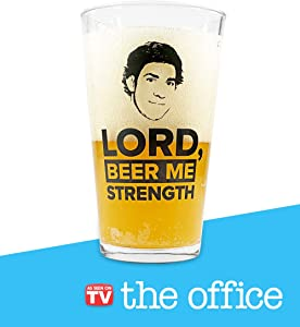 The Office Beer Glass – Lord Beer Me Strength Cup – The Office Merchandise – Memorabilia Inspired by The Office – Holds 16 Ounces