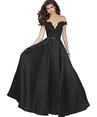 6bed2ee4ee29 Yilis Women s Off The Shoulder Beaded A-line Satin Floor Length Prom Dress  Long Satin