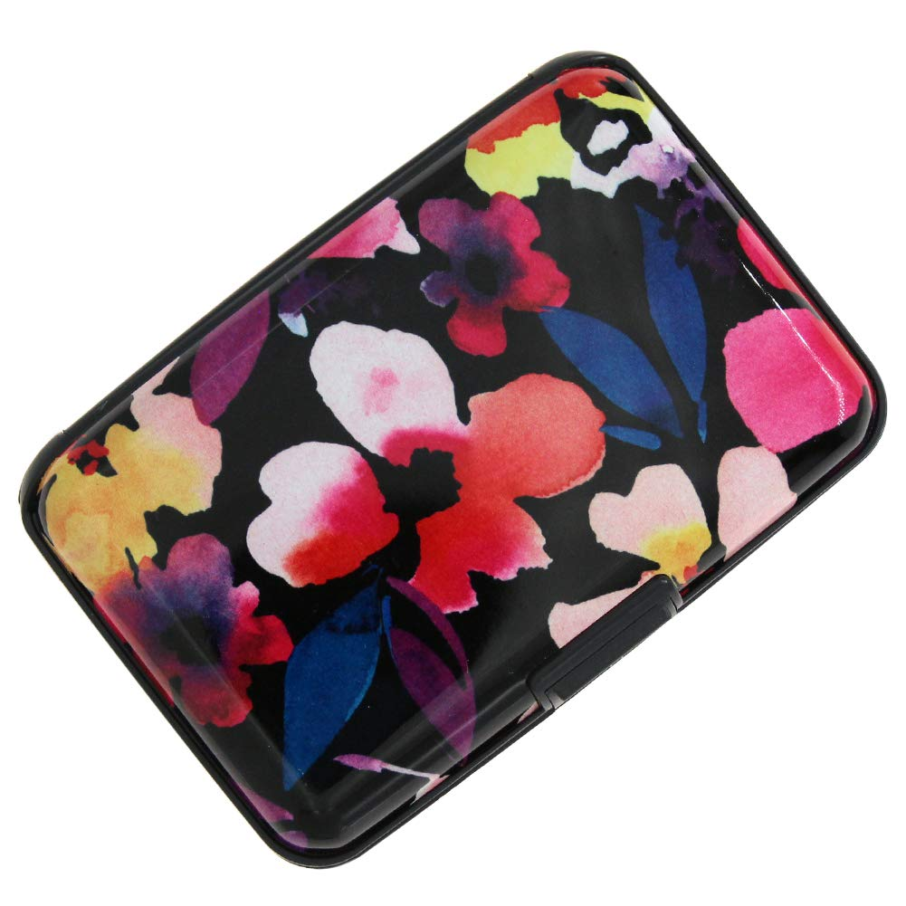 RFID Blocking Credit Card Holder Case Protector Wallet Hard Slim Travel Purse for Women with 6 Slots Portable Wallet Small)