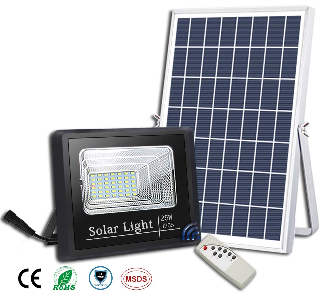 25W Solar Flood Lights Outdoor,Street and Area Lighting,Dusk to Dawn 45LEDs IP65 Outdoor Waterproof 1000lumen Light Sensing,Remote Control Safety floodlight,