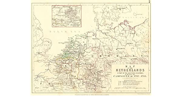 Amazon.com: NETHERLANDS. Map & countries; campaigns of 1792 ...