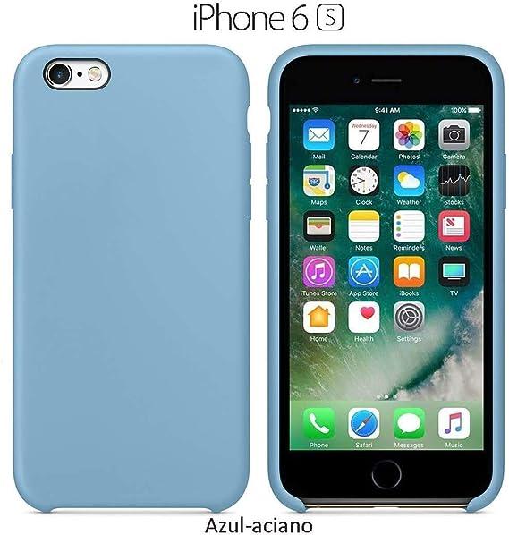 Image ofFunda Silicona para iPhone 6 y 6s Silicone Case, Calidad, Textura Suave, Forro Interno Microfibra (Aciano)