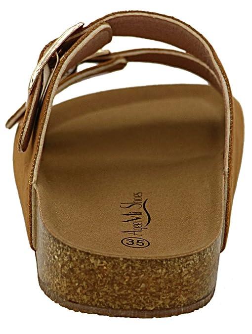 AgeeMi Shoes Unisex Slip On Offener Zeh Doppel Riemen Gummi Flats Sandalen,EuL06 Schwarz 38
