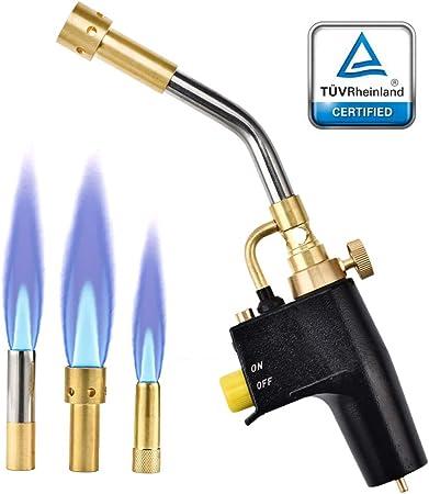 S SMAUTOP Antorcha de Propano MAPP 3 Boquillas Reemplazables Antorcha de Gas de Alta Intensidad con Llama de Turbina Caliente Multipropósito para ...