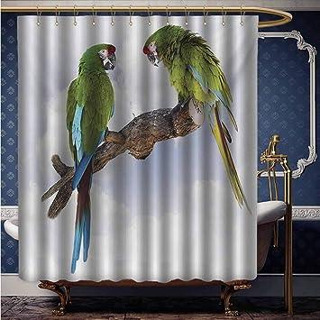"""Green Elf Parrot Bird Bathroom Shower Curtain Waterproof Fabric /& 12 Hooks 71/"""""""