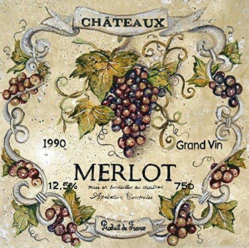 Enchanting Merlot Wine Label Tile Mural - Label Tiles Wine
