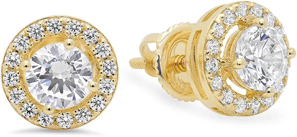 Clara Pucci 1.40 CT BRILLIANT ROUND CUT SOLITAIRE HALO STUD EARRINGS 14K YELLOW GOLD Screwback