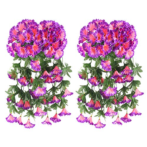 - HO2NLE Artificial Hanging Flowers, 4PCS Fake Silk Morning Glory Hanging Vine Plants Faux Flower Hang Garland DIY for Home Garden Wall Fence Stairway Outdoor Wedding Hanging Baskets Decor Purple
