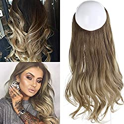 "Ombre Hair Extension Bayalage Highlight Ash Blonde Caramel 18""Long Natural Wavy Halo Flip in Natural Synthetic Hairpiece Hidden Wire Crown Headband Hair Pieces For Women Heat Resistant Fiber M01# 8T16"