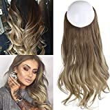 Ombre Hair Extension Bayalage Highlight Ash Blonde Caramel 18''Long Natural Wavy Halo Flip in Natural Synthetic Hairpiece Hidden Wire Crown Headband Hair Pieces For Women Heat Resistant Fiber M01# 8T16