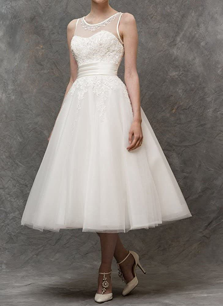 Tea Length Wedding Dress Tulle Bridal Dress Short Bridesmaid Dress Wedding Dress: Amazon.co.uk: Clothing