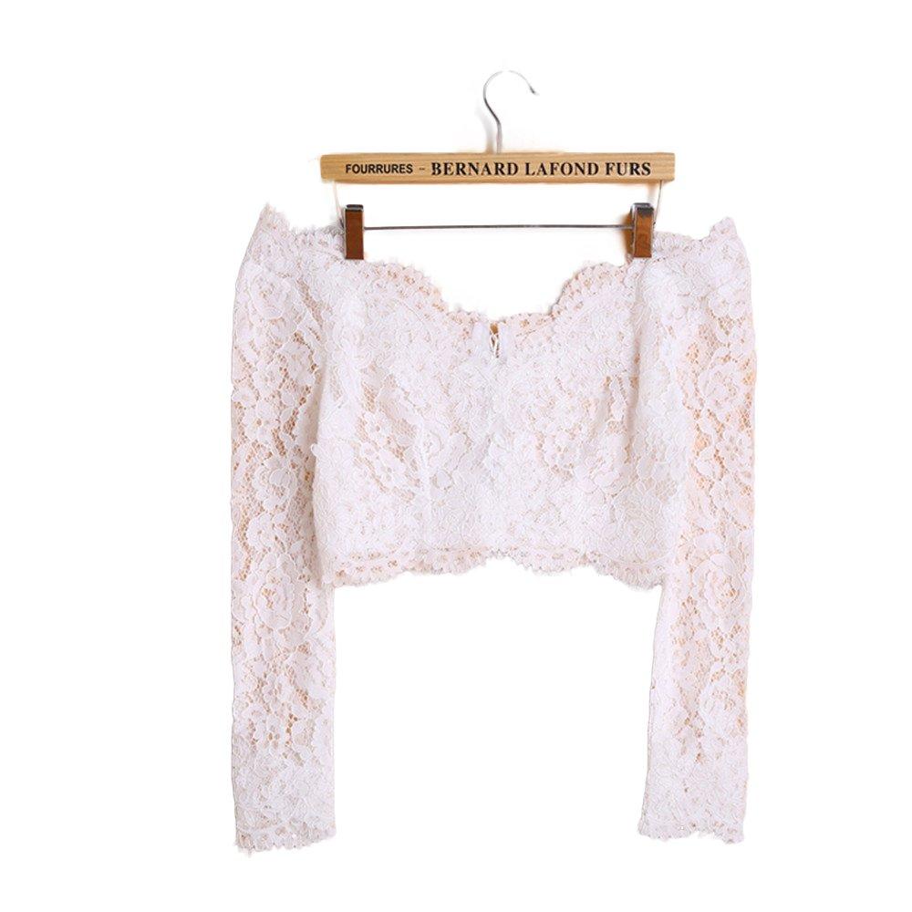 FIDDY898 Off the Shoulder Lace Long Sleeve Wedding Bolero ivory XL